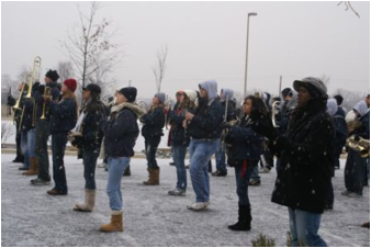 The Taravella (FL) HS band rehearsing in the snow!